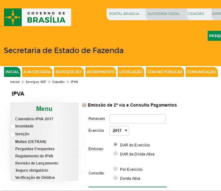 Consulta IPVA DF